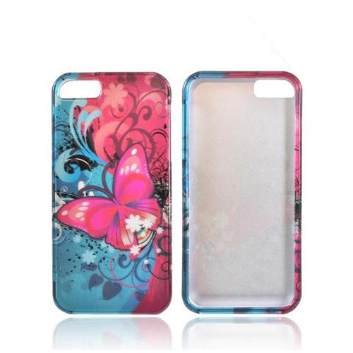 Apple iPhone SE / 5 / 5S Hard Case,  [Hot Pink Butterfly Bliss]  Slim & Protective Crystal Glossy Snap-on Hard Polycarbonate Plastic Case Cover