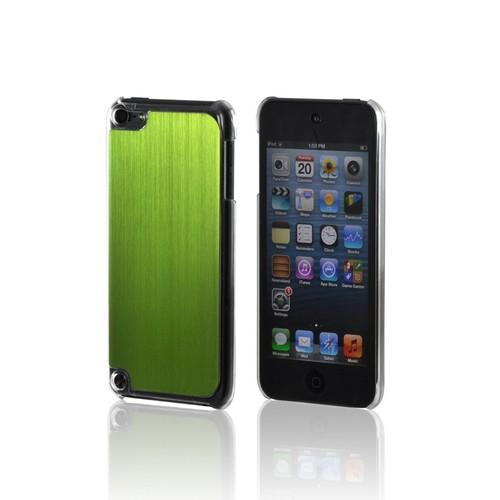 Clear Hard Case w/ Neon Green Aluminum Back for Apple iPod Touch 5