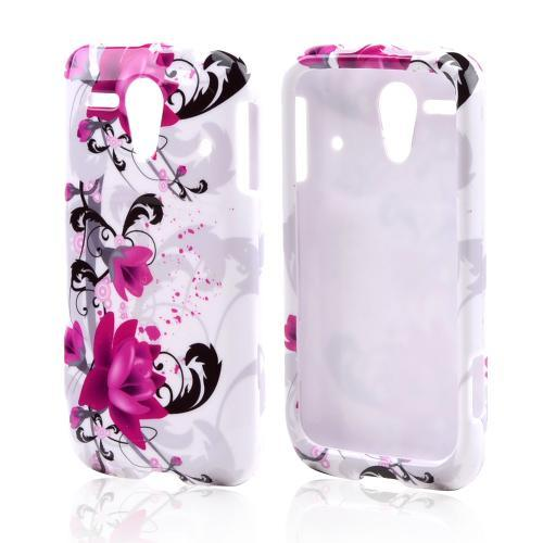Magenta Flowers & Black Vines on White Hard Case for Kyocera Hydro Edge