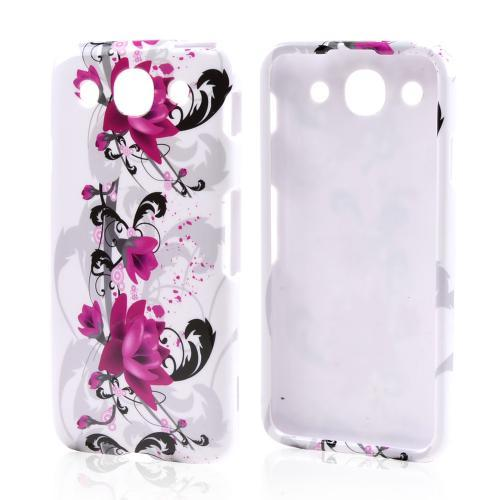Magenta Flowers & Black Vines on White Hard Case for LG Optimus G Pro