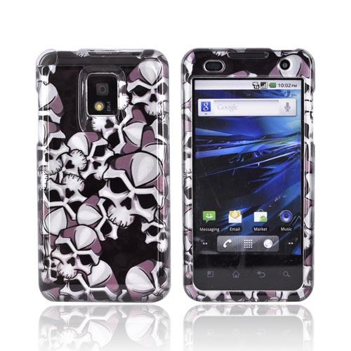 T-Mobile G2X Hard Case - Black Skulls on Silver