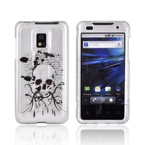 T-Mobile G2X Hard Case - Black Skull on Silver