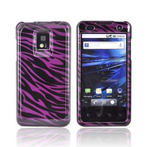 T-Mobile G2X Hard Case - Black Zebra on Purple