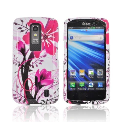 LG Nitro HD Hard Case - Pink Flower Splash on White