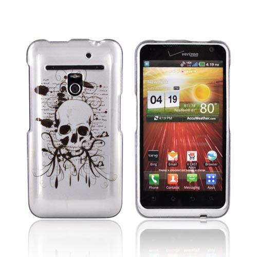 LG Revolution, LG Esteem Hard Case - Black Skull on Silver