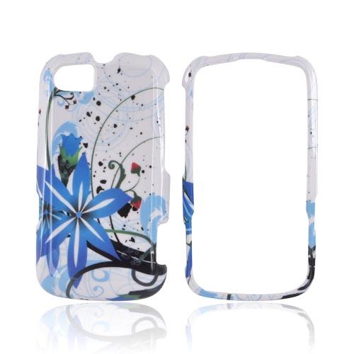 Motorola Admiral Hard Case - Blue Flower Splash on White