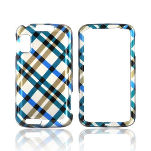 Motorola Atrix 4G Hard Case - Checkered Pattern of Blue, Brown on Silver