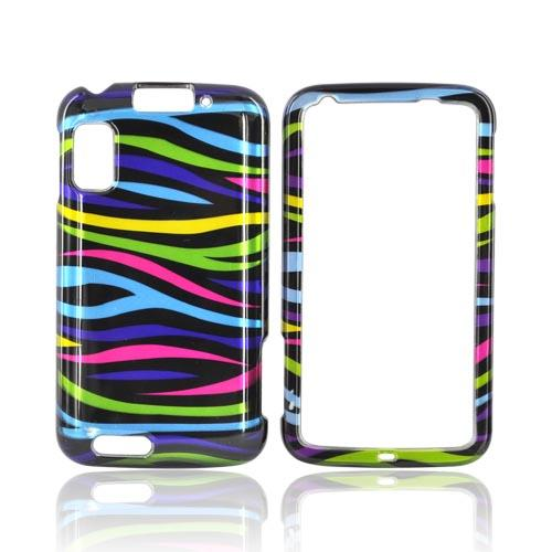 Motorola Atrix 4G Hard Case - Rainbow Zebra on Black