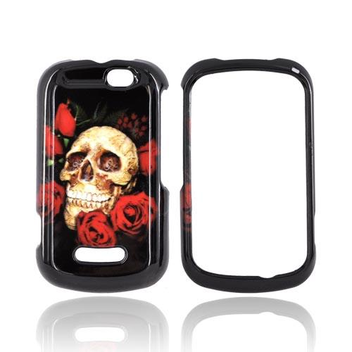Motorola Clutch+ i475 Hard Case - Skull & Roses on Black