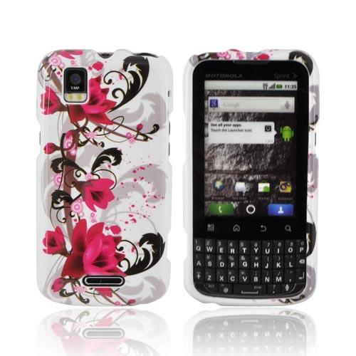 Motorola XPRT MB612 Hard Case - Pink Flowers on White