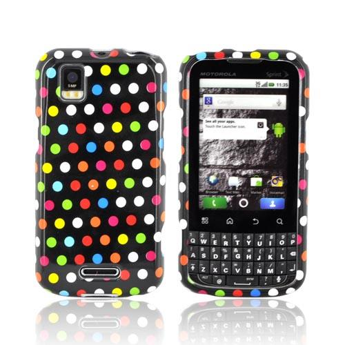 Motorola XPRT MB612 Hard Case - Rainbow Polka Dots on Black