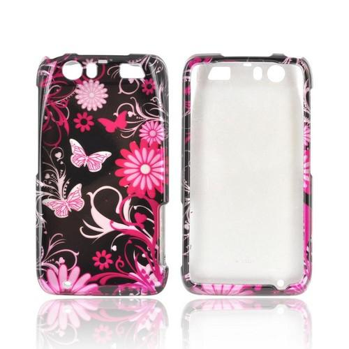 Motorola Atrix HD Hard Case - Pink Flowers & Butterflies on Black