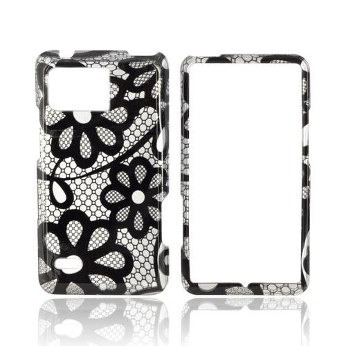 Motorola Droid Bionic XT875 Hard Case - Black Lace Flowers on Silver