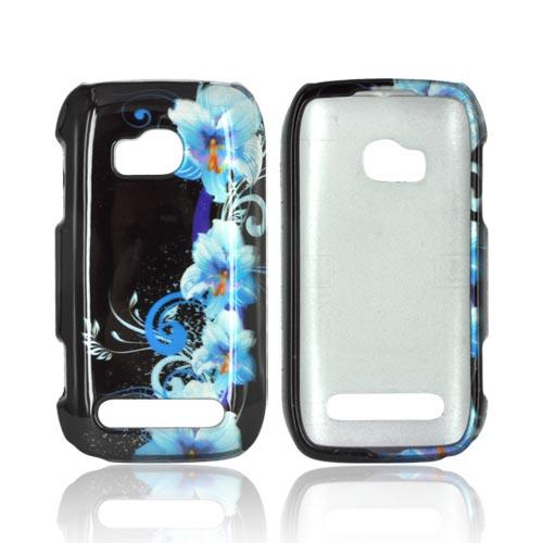 Nokia Lumia 710 Hard Case Cover - Blue Flowers on Black