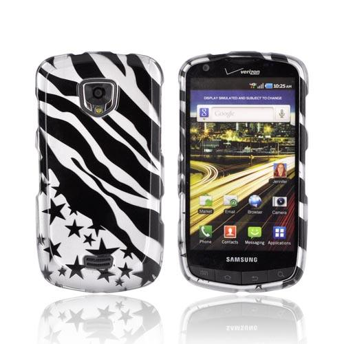 Samsung Droid Charge Hard Case - Black Zebra & Stars on Silver