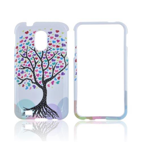 Samsung Epic 4G Touch Hard Case - Black Tree w/ Multi-Colored Hearts on White