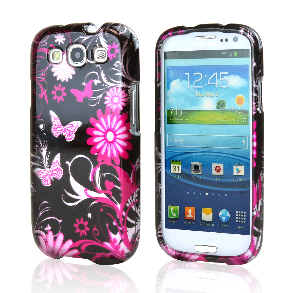 Samsung Galaxy S3 Hard Case - Pink Flowers and Butterflies on Black