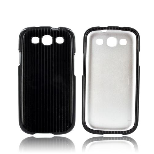 Samsung Galaxy S3 Hard Case - Silver Lines on Black