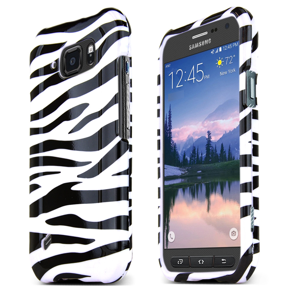 Samsung Galaxy S6 Active Case, [White Zebra] Slim & Protective Crystal Glossy Snap-on Hard Polycarbonate Plastic Protective Case