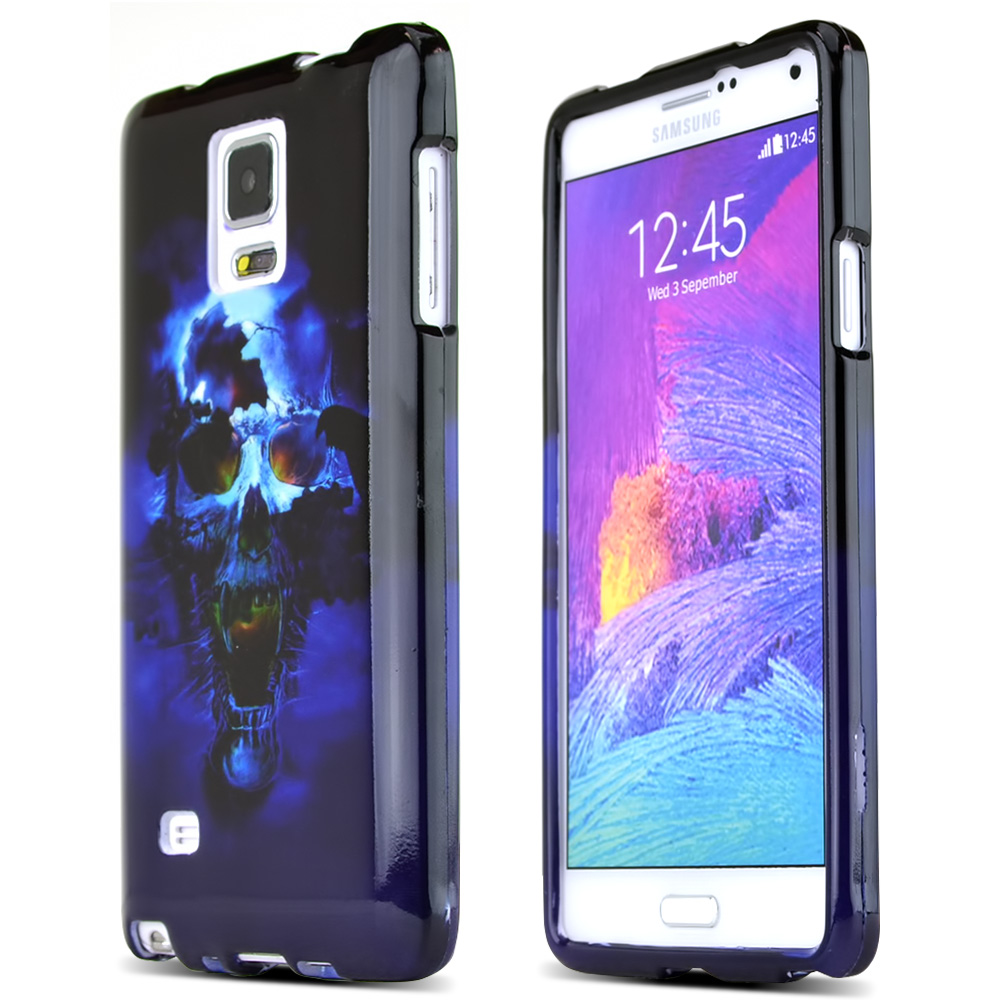 Samsung Galaxy Note 4 Case, [Blue Skull]  Slim & Protective Crystal Glossy Snap-on Hard Polycarbonate Plastic Case Cover