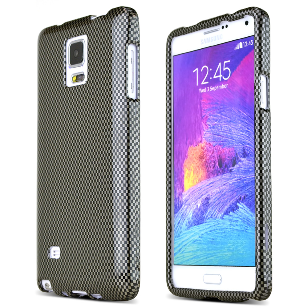 Samsung Galaxy Note 4 Case, [Carbon Fiber Design]  Slim & Protective Crystal Glossy Snap-on Hard Polycarbonate Plastic Case Cover
