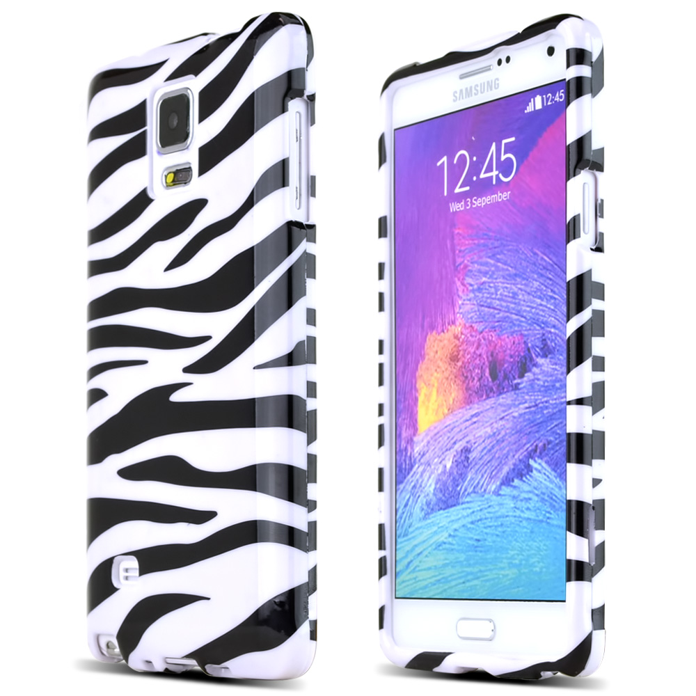 Samsung Galaxy Note 4 Case, [White Zebra]  Slim & Protective Crystal Glossy Snap-on Hard Polycarbonate Plastic Case Cover