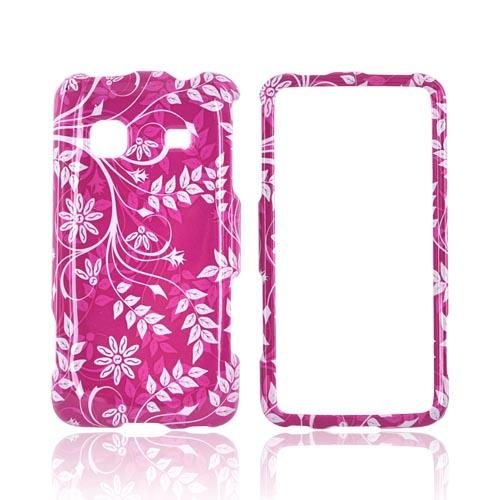 Samsung Galaxy Prevail M820 Hard Case - White Vines/ Leaves on Magenta