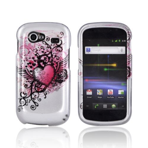 Google Nexus S Hard Case - Pink Heart w/ Wings on Silver