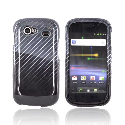 Google Nexus S Hard Case - Fading White Lines on Gray/ Black