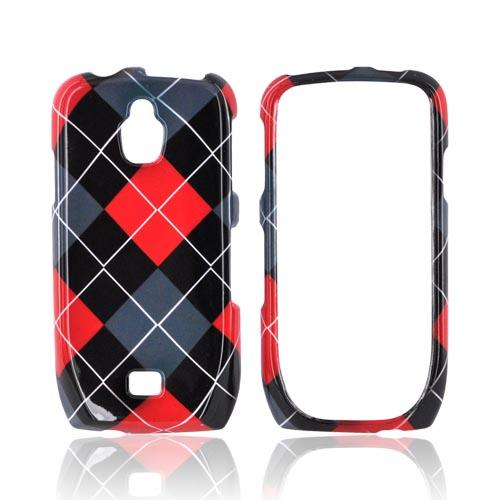 Samsung Exhibit T759 Hard Case - Red/ Gray/ Black Argyle