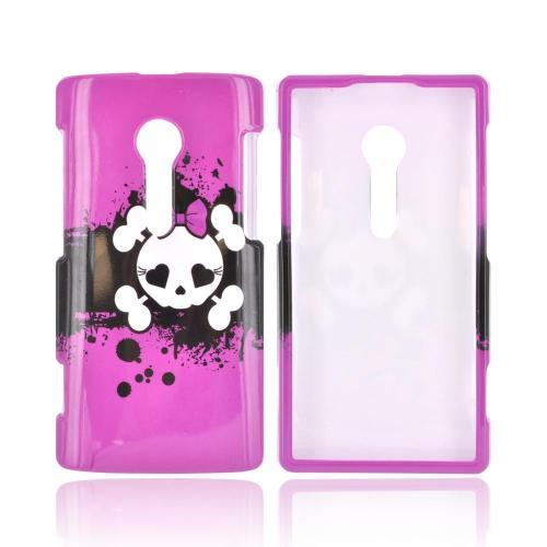 Sony Xperia Ion T28i Hard Case - White Skull w/ Bow on Hot Pink