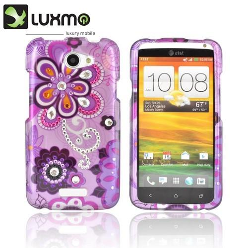 HTC One X Hard Case w/ Bling - Purple/ Pink Retro Flower