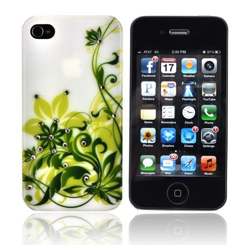 Premium AT&T/ Verizon Apple iPhone 4, iPhone 4S Rubberized Hard Case w/ Bling - Green Wildflowers on White w/ Clear Gems