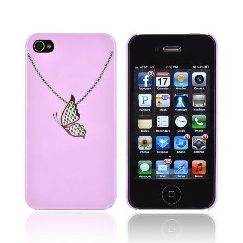 Premium AT&T/ Verizon Apple iPhone 4, iPhone 4S Hard Case w/ Bling - Purple/ Silver Butterfly Necklace
