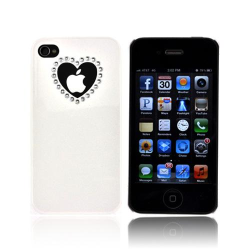 Premium AT&T/ Verizon Apple iPhone 4, iPhone 4S Hard Case w/ Bling - White/ Silver Cut Out Heart