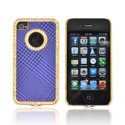 Apple iPhone 4/ 4S Hard Case w/ Bling - Black Houndstooth on Purple