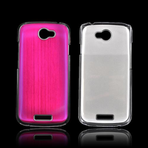 HTC One S Hard Back Clear Case w/ Aluminum - Pink