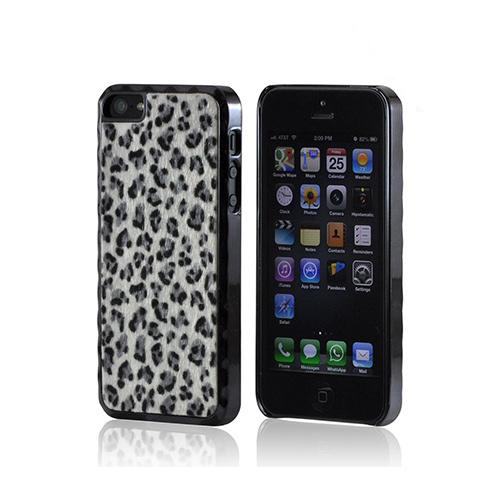 Apple iPhone SE / 5 / 5S Hard Case,  [White/ Black Leopard]  Aluminum Border & Fabric Back Case Cover