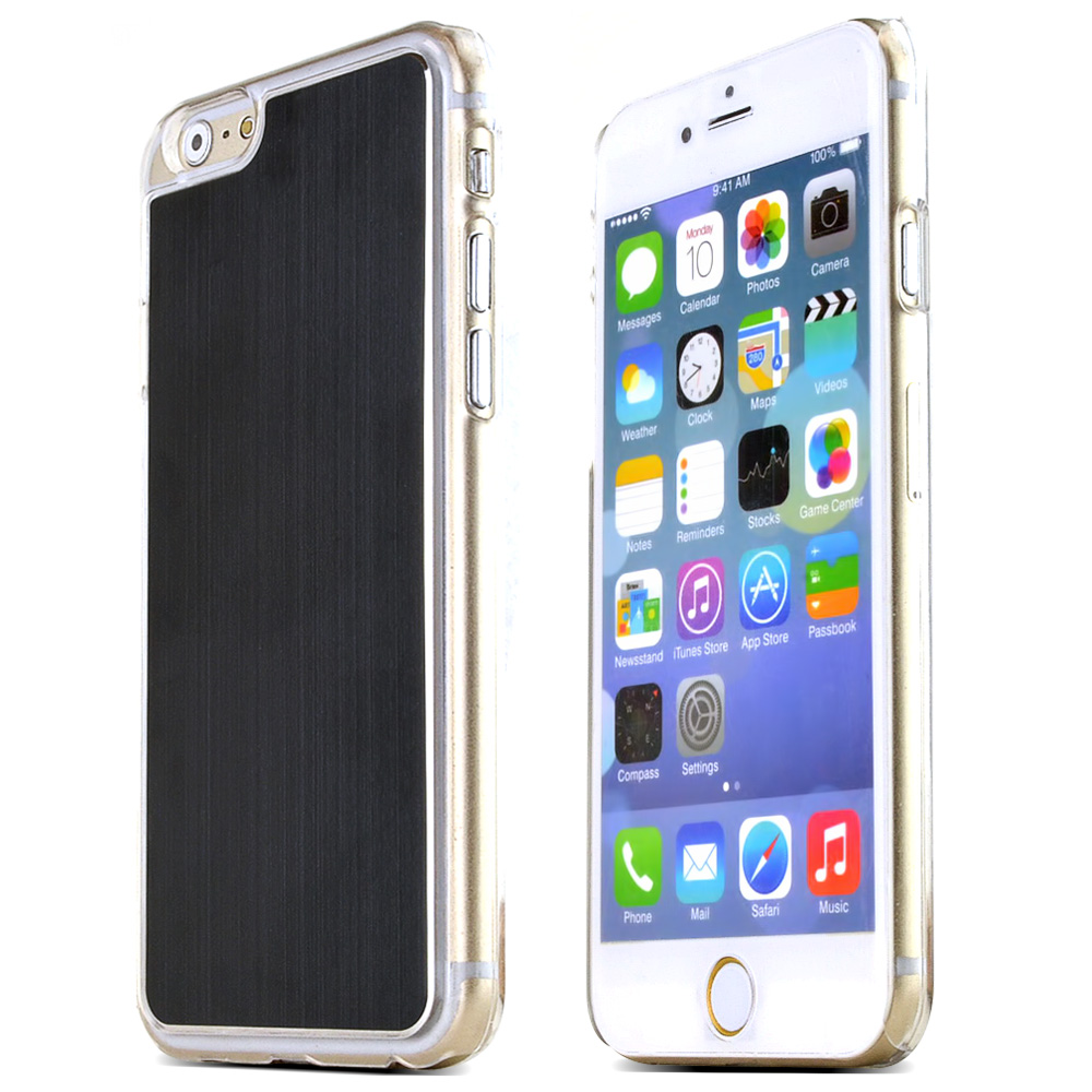 Apple iPhone 6/ 6S Case,  [Black]  Slim & Protective Polycarbonate Plastic Back with Aluminum Metal Border Case Cover