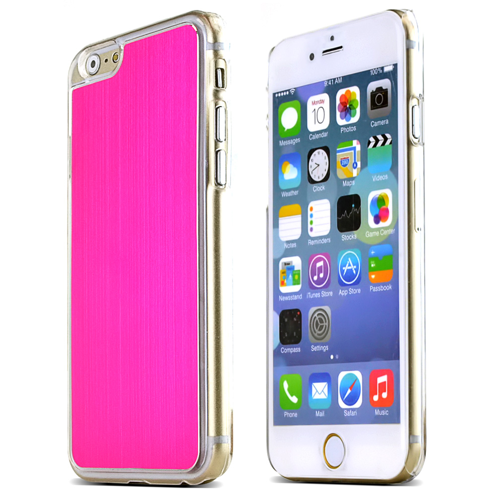 Made for Apple iPhone 6/ 6S Case,  [Hot Pink]  Slim Protective Polycarbonate Plastic Back with Aluminum Metal Border Case Cover by Redshield