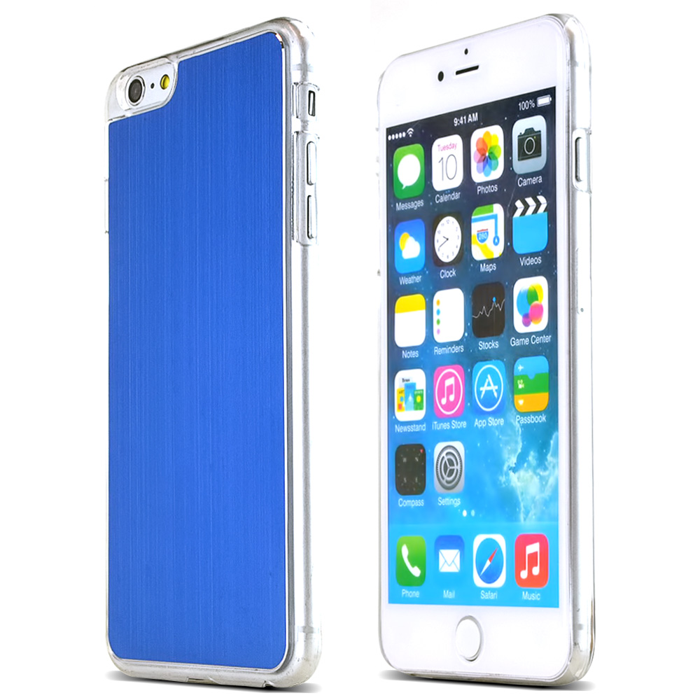 Blue Polycarbonate Plastic Back with Aluminum Metal Border Case Made for Apple iPhone 6 PLUS/6S PLUS (5.5 inch)