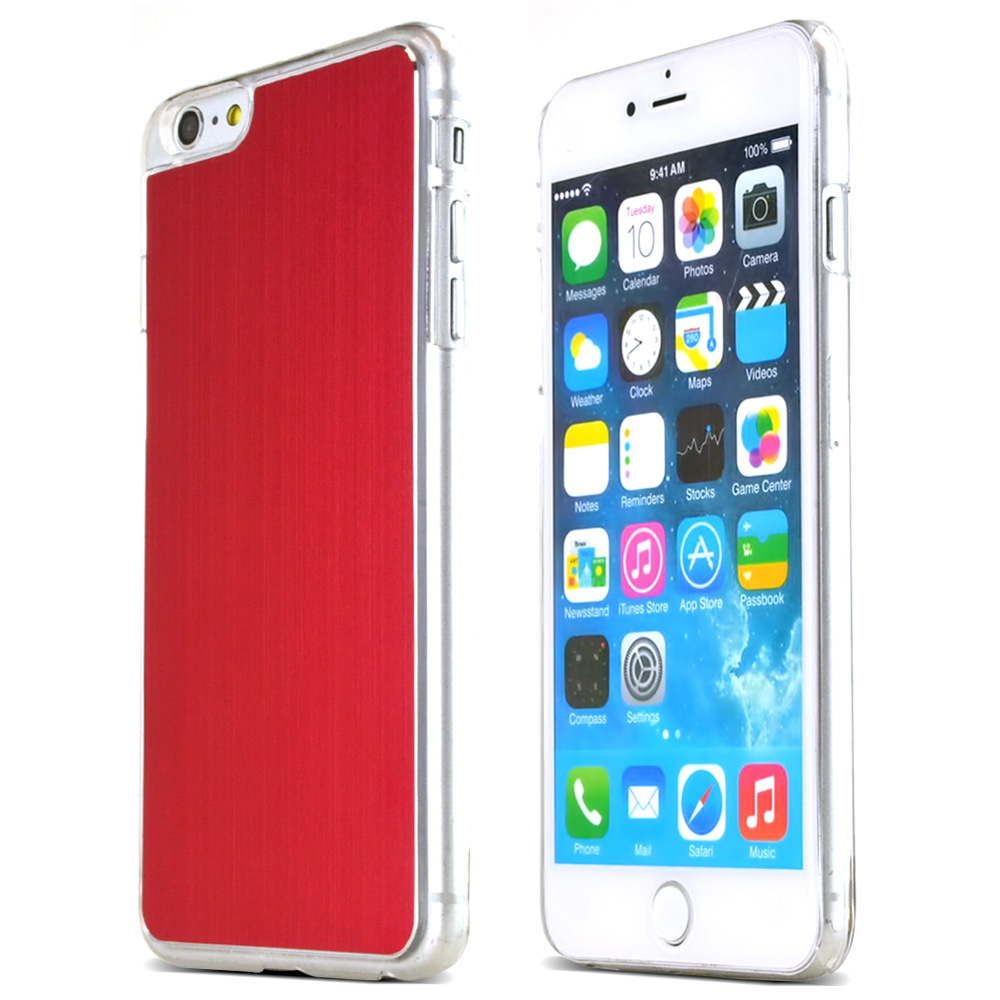 Made for Apple iPhone 6 PLUS/6S PLUS (5.5 inch) Red Polycarbonate Plastic Back with Aluminum Metal Border Case by Redshield