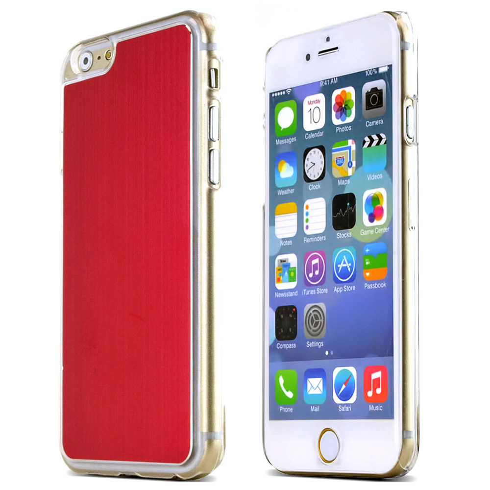 Made for Apple iPhone 6/ 6S Case,  [Red]  Slim Protective Polycarbonate Plastic Back with Aluminum Metal Border Case Cover by Redshield