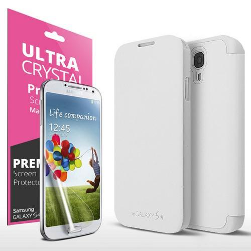 White Flip Cover Case w/ ID Slot, Satin Cover & Free Screen Protector for Samsung Galaxy S4