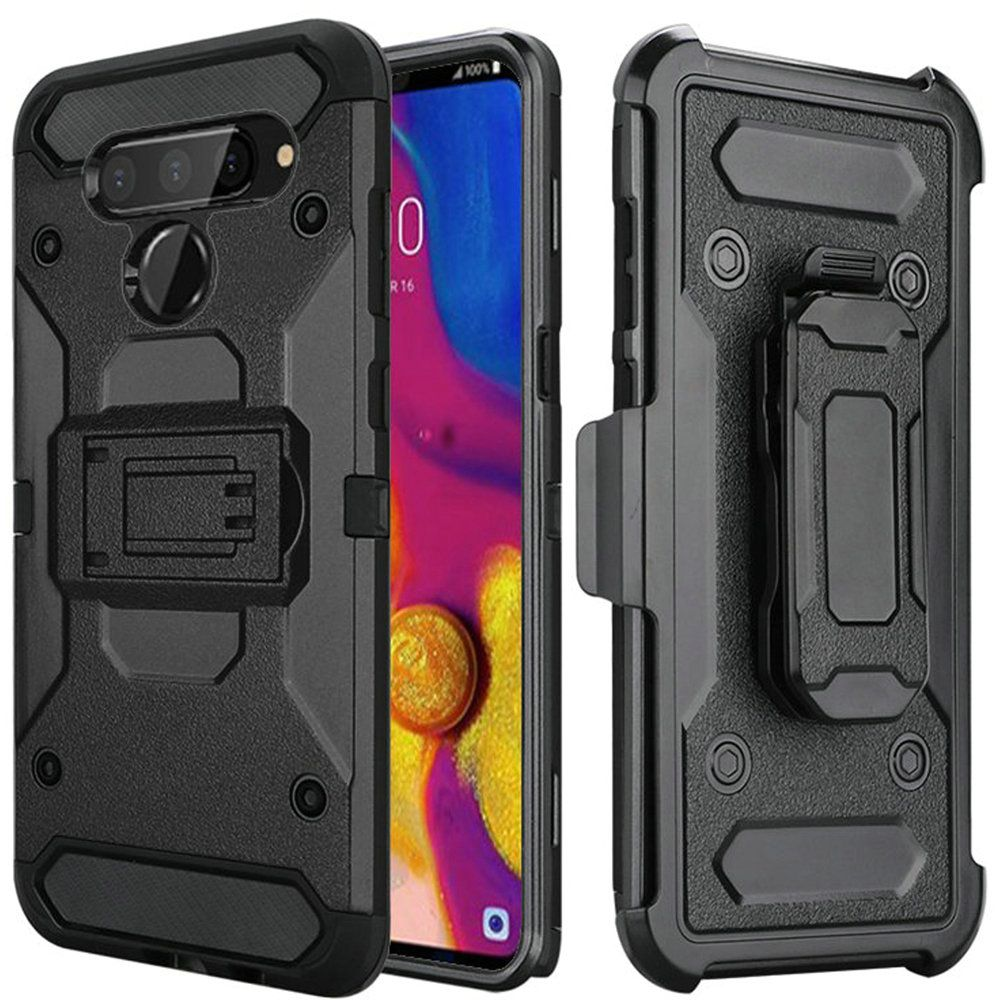 LG V40 ThinQ Holster Case, Heavy Duty Protective Robust Rugged Holster Clip Hybrid Protector Cover [Black]