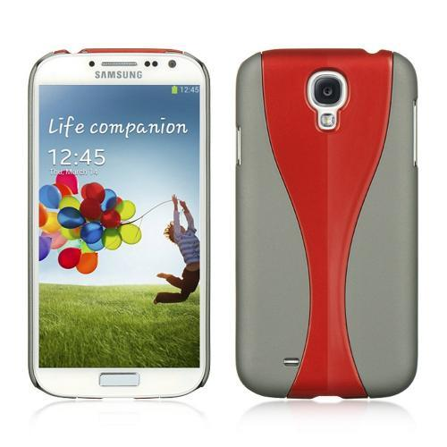 Gray/ Red Dual Material Hard Case (Rubberized & Glossy Plastic) for Samsung Galaxy S4