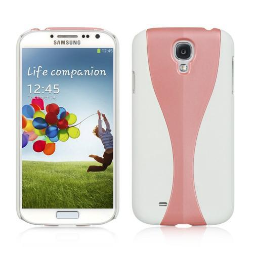 White/ Hot Pink Dual Material Hard Case (Rubberized & Glossy Plastic) for Samsung Galaxy S4