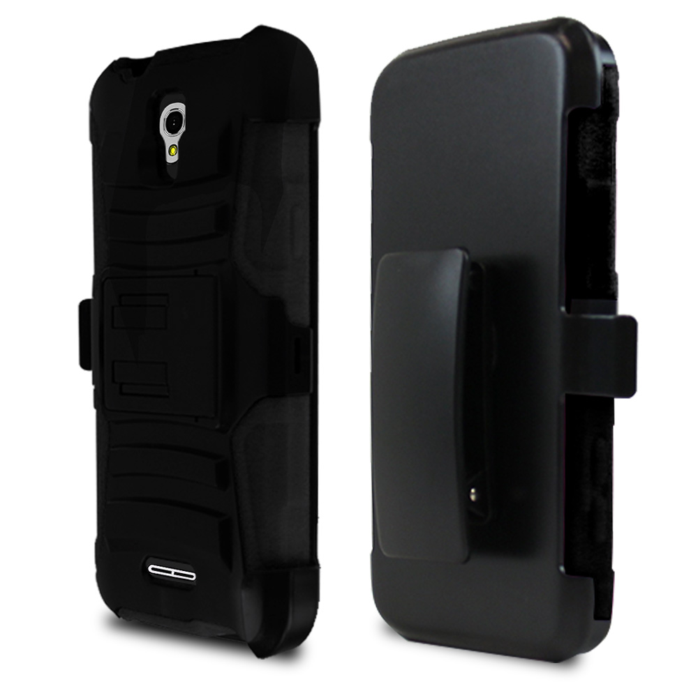 Alcatel OneTouch Elevate Holster Case, [Black] Supreme Protection Plastic on Silicone Dual Layer Hybrid Case