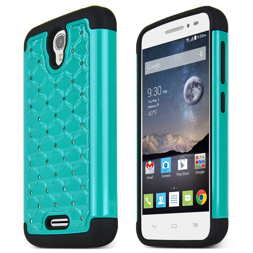 Alcatel OneTouch POP Astro Case, DARK MINT Bling Gems Protective Hard Case Cover