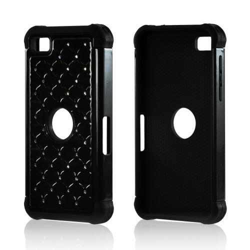 Black Hard Cover on Black Silicone Case w/ Silver Gems for BlackBerry Z10